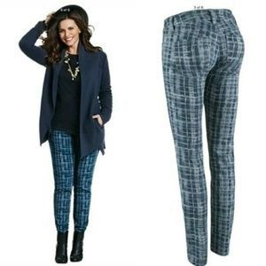 Cabi Grid Windowpane Curvy Skinny Jeans